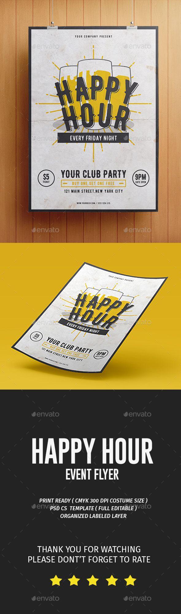 Happy Hour Flyer Template PSD. Download here: https://graphicriver.net/item/happy-hour-flyer/17278604?ref=ksioks