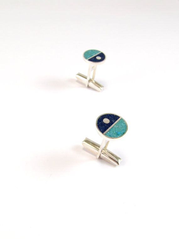 Sterling Silver Cufflinks -  Divided Circles - Blue and Turquoise