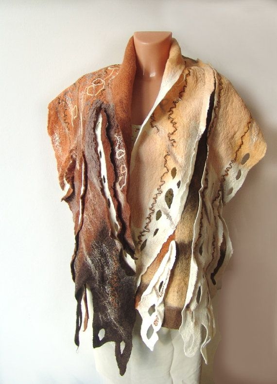 Unique Nuno Felted scarf Brown Beige #nuno #felted #scarf #brown #cream #wool #felt $83.00