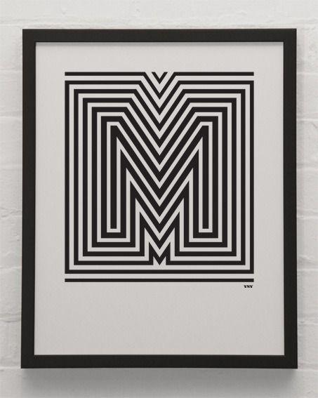Alphabet Posters by YeahNoYeah.   Black & White , 40x50cm, Unframed #AlphabetPoster #Poster #YeahNoYeah