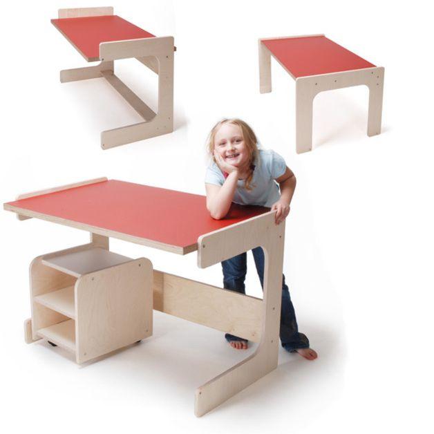 <P>(Preis ohne Container)</P>  <P>Durch Drehung in drei Positionen ist der Kinderschreibtisch höhenverstellbar (55, 63,70 cm), so dass er vom Vorschulalter bis zu einer Körpergröße von 1.72m...