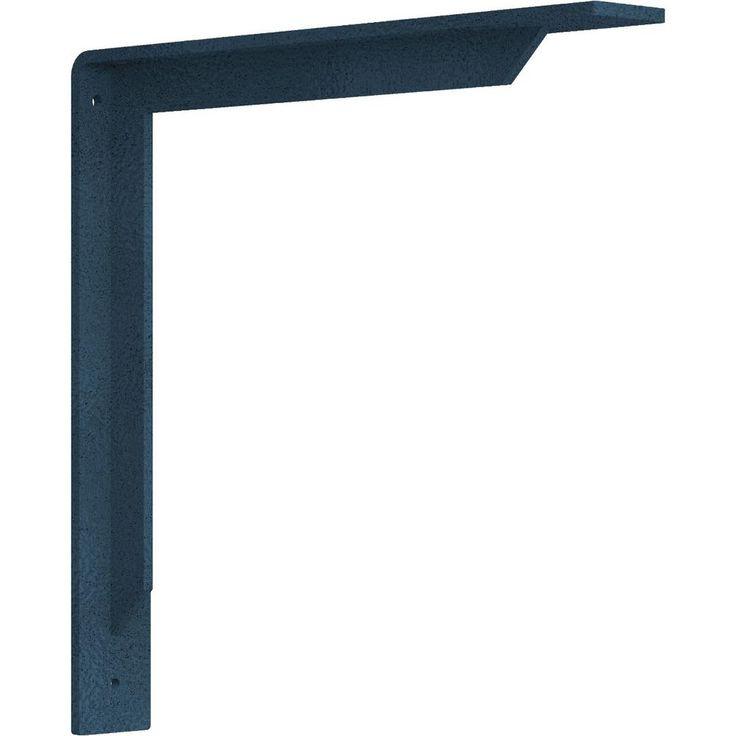 Ekena Millwork 2 in. x 14 in. x 14 in. Steel Hammered Light Blue Stockport Bracket