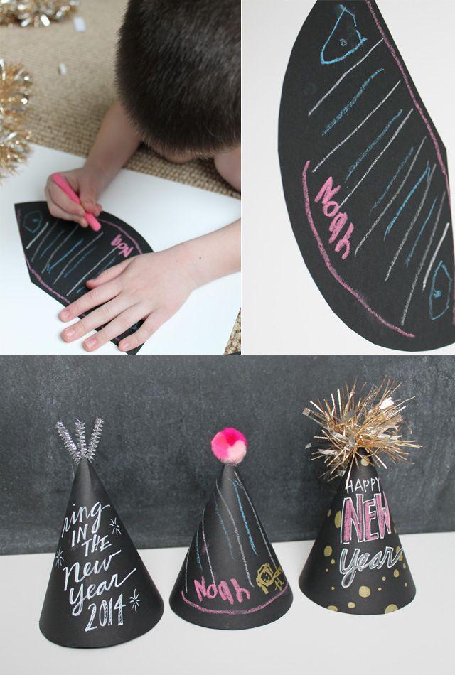 Happy Holidays: Chalkboard Party Hats -- Tatertots and Jello