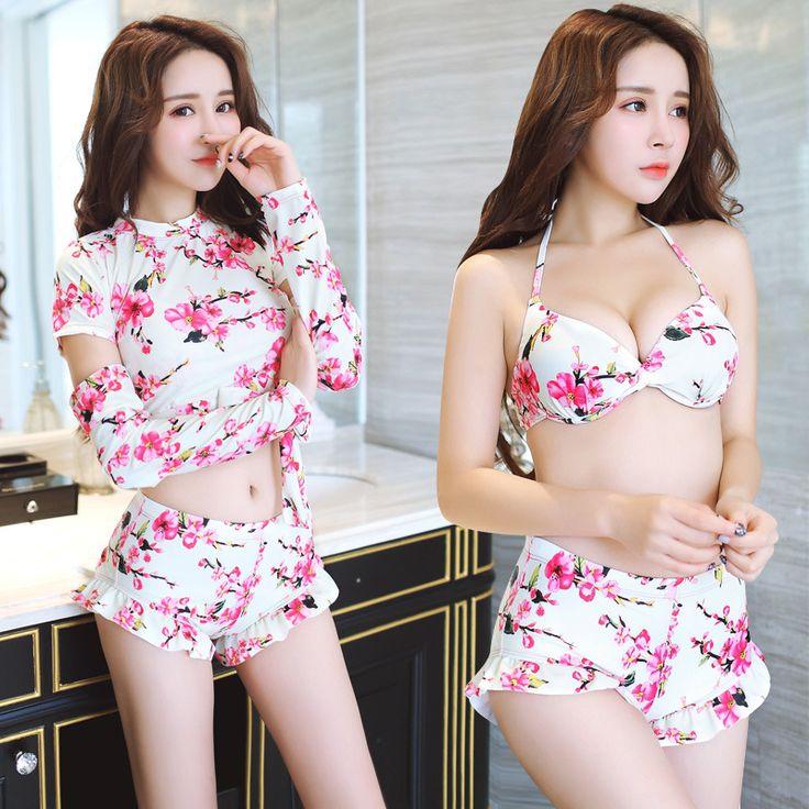 $26.72 (Buy here: https://alitems.com/g/1e8d114494ebda23ff8b16525dc3e8/?i=5&ulp=https%3A%2F%2Fwww.aliexpress.com%2Fitem%2Fnew-Suihua-split-bikinis-three-piece-small-chest-girth-cover-sleeve-blouse-swimsuit-gather-conservative%2F32705711057.html ) Rashguard Swim Shirts Swimming Suit For Women three piece cover sleeve blouse swimsuit Combinaison Meisjes Bikini Tankinis Set  for just $26.72