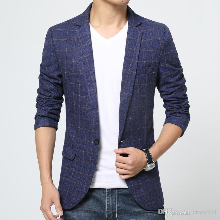 Wholesale cheap men suits online, gender - Find best new preppy style men's cloth plaid jacket blue slim single breasted long sleeved cotton casual suit jackets freeshipping at discount prices from Chinese men's suits & blazers supplier - crazy931 on DHgate.com.