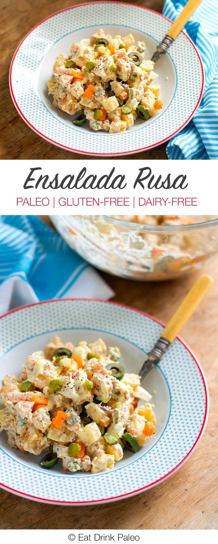Ensalada Rusa – Spanish Take On A Classic Potato Salad | Paleo, Gluten-free, Dairy-free Recipe http://eatdrinkpaleo.com.au/ensalada-rusa-paleo-potato-tuna-salad/
