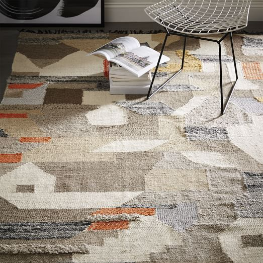 West Elm Kasbah Rug 5x8: Art Kilim Wool Rug