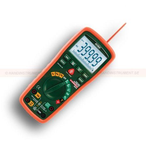 http://handinstrument.se/multimeter-r742/ex520-multimetern-med-begransat-sparbart-kalibreringscertifikat-ej-for-ir-funktion-53-EX570-NISTL-r782  EX520 multimetern Med begränsat spårbart kalibreringscertifikat - EJ  för IR-Funktion  Inbyggd beröringsfri infraröd termometer med laserpekare  Sann RMS CAT III-1000V, CAT IV-600V klassad 0,06% DCV precision  Kraftig dubbel gjuten, vattentätt instrumenthus  Stor bakgrundsbelyst 40.000 counts LCD med 40-segment  Minne för lagring...