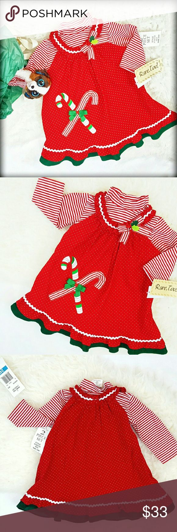 """30%/2🚨NWT 24M Christmas Jumper Dress Top Set I love this Adorable Rare, Too Girl's holiday Jumper dress set because the details are just exquisite. New with tags! Such a sweet and fun mock turtleneck and jumper set. Ribbon detailed Candy canes & Ric Rack add to the sweetness of this dress. Dress is Cotton Corduroy, top Cotton/37% polyester,5% spandex.Length: 19"""" Approximately. Just too cute! Rare, Too by Rare Editions. Check out my other kids holiday wear to bundle for great discounts! Rare…"""