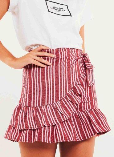 Nikola Skirt - Maroon Stripe