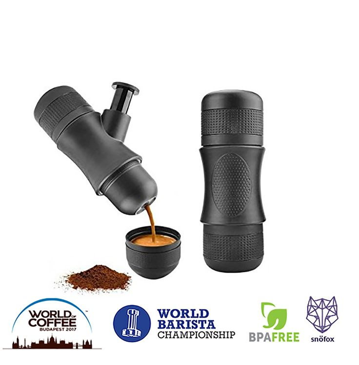 SnöFox Portable Mini Espresso Maker   Hand Held Caffe Espresso Machine On The Go   No Batteries or Eletronic Power Needed   For Home,Camping,Travel,Office,or Outdoor   BPA Free   Manual Pressure  
