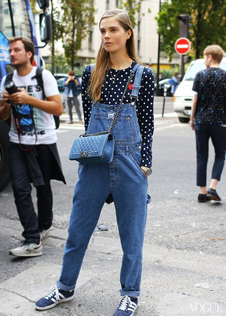 Calvin Klein overalls, Comme des Garçons Play top, Chanel bag. Paris Fashion Week 2014 (for Spring)
