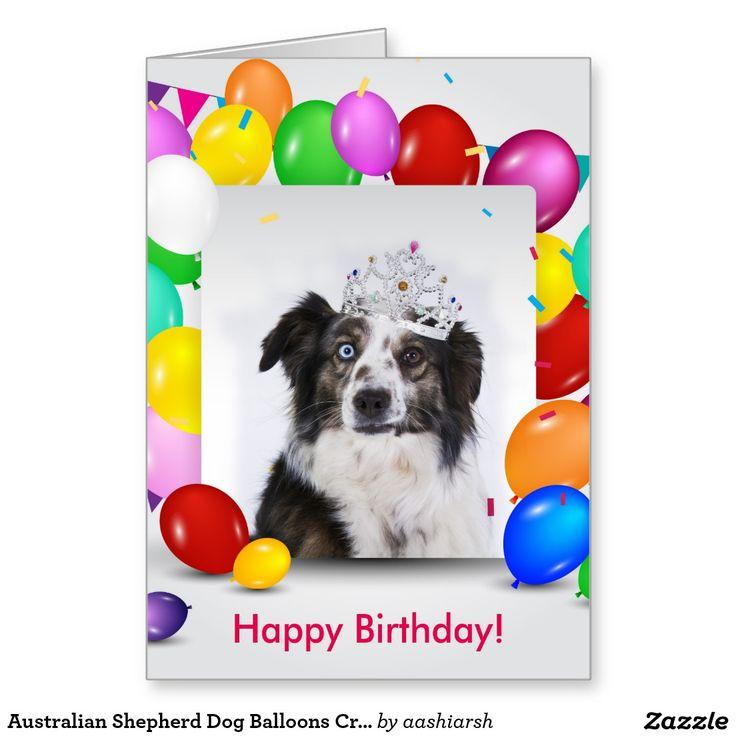 Australian Shepherd Dog Balloons Crown Birthday Card Zazzle Com In 2021 Australian Shepherd Australian Shepherd Dogs Balloon Crown