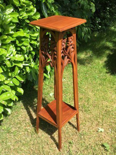 Details about Large Vintage Carved Wood Jardiniere…