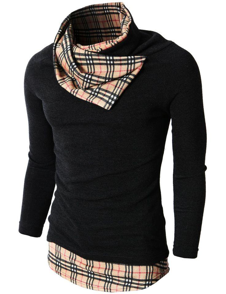 Mens Knited Turtleneck Slim Fit Pullover Sweater Patterned Turtleneck Point (KMTTL056)