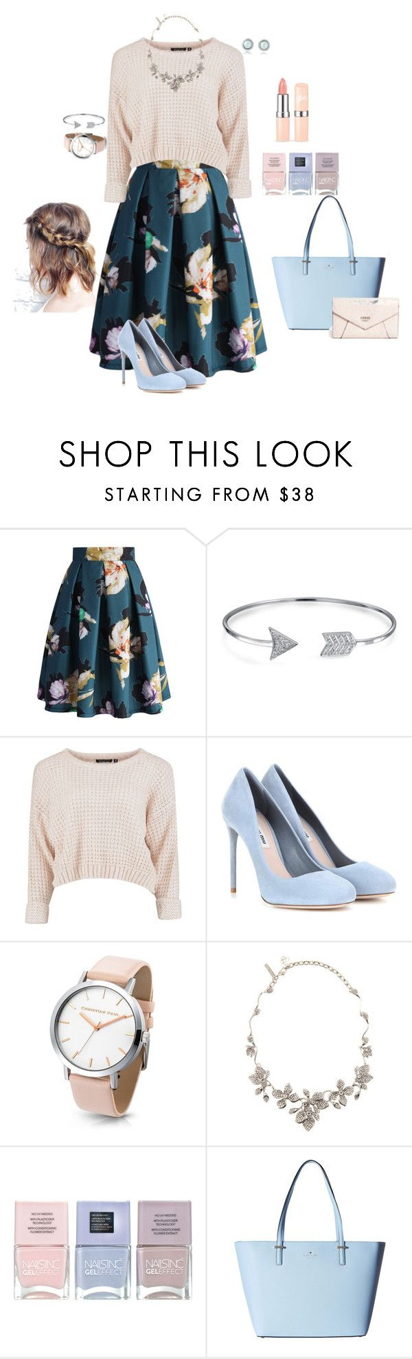 Cotton Candy Clouds by loral-lavender on Polyvore featuring Chicwish, Miu Miu, Kate Spade, GUESS, Oscar de la Renta, Bling Jewelry and Nails Inc.