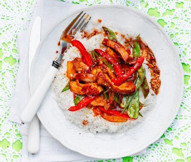 Recept: Sötsur fläskfilé med ris