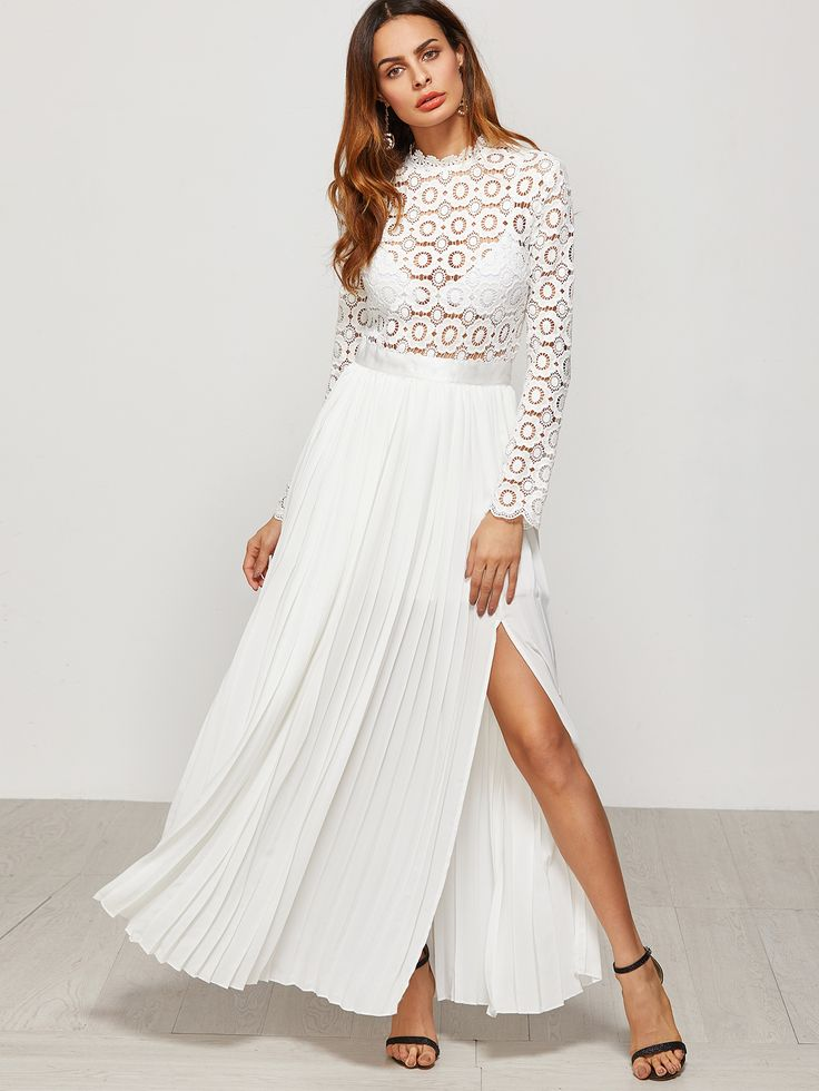 Shop White Eyelet Embroidered Lace Top Split Pleated Dress online. SheIn offers White Eyelet Embroidered Lace Top Split Pleated Dress & more to fit your fashionable needs.
