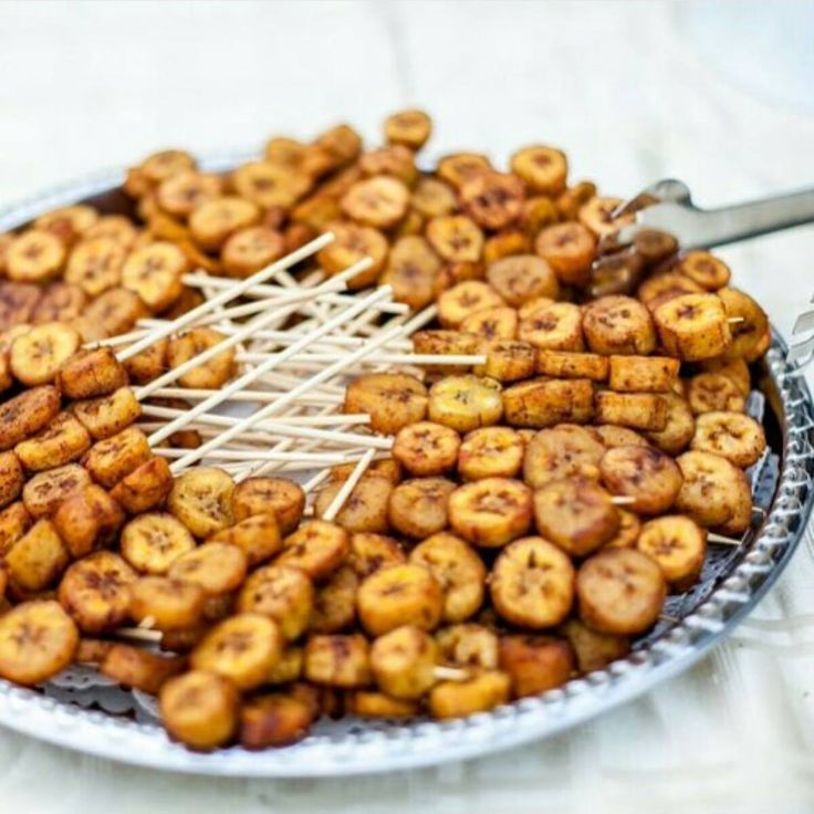 Spic fried plantains on a stick, Kelewele on sticks | Ghana Food | African Food