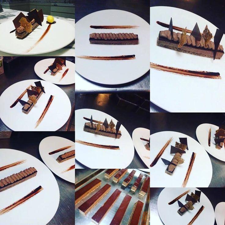 My sweet dolce cioccolato dessert in another version at apocalypsis Dacquoise hazelnut,dark chocolate mousse,light milk chocolate mousse bahibe,sorbet kalamansi #patisserie #pastry #mycreation #apapastavrou #argiris_papastavrou #bahibe #valrhona #dacquoise #kalamansi #apocalypsis #hazelnut #sorbet