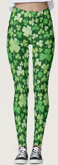 These women's leggings are green and covered in shamrock (clover) making them perfect for St Patrick's Day.