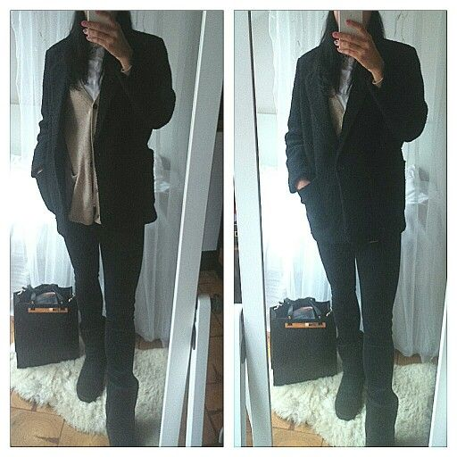 Oversize coat, black coat, ugg shoes, ugg boots, black outfit