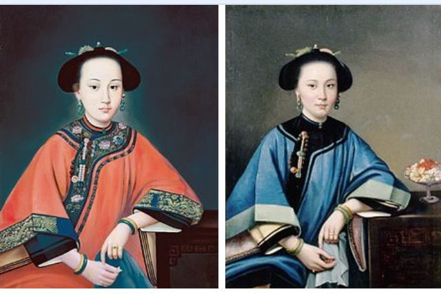 'Portrait of Lady Hoja, Consort of the Qing Dynasty Qianlong Emperor', 1760, Giuseppe Castiglione and 'The Fourth Concubine of Hexing (Wo Hing) of Hong Kong', 1864, Guan Qiaochang Lamqua