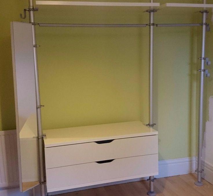IKEA STOLMEN open wardrobe drawers shelving mirror hanging storage system silver white excellent
