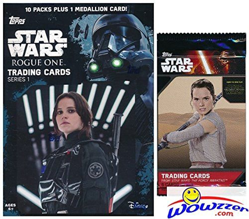 2016 Topps Star Wars Rogue One Series 1 EXCLUSIVE Factory Sealed Retail Box with 10 Packs & VERY SPECIAL MEDALLION Card! Plus SPECIAL BONUS of Topps Star Wars The Force Awakens Foil Pack! Wowzzer! //Price: $14.95 & FREE Shipping //     #starwarsmeme