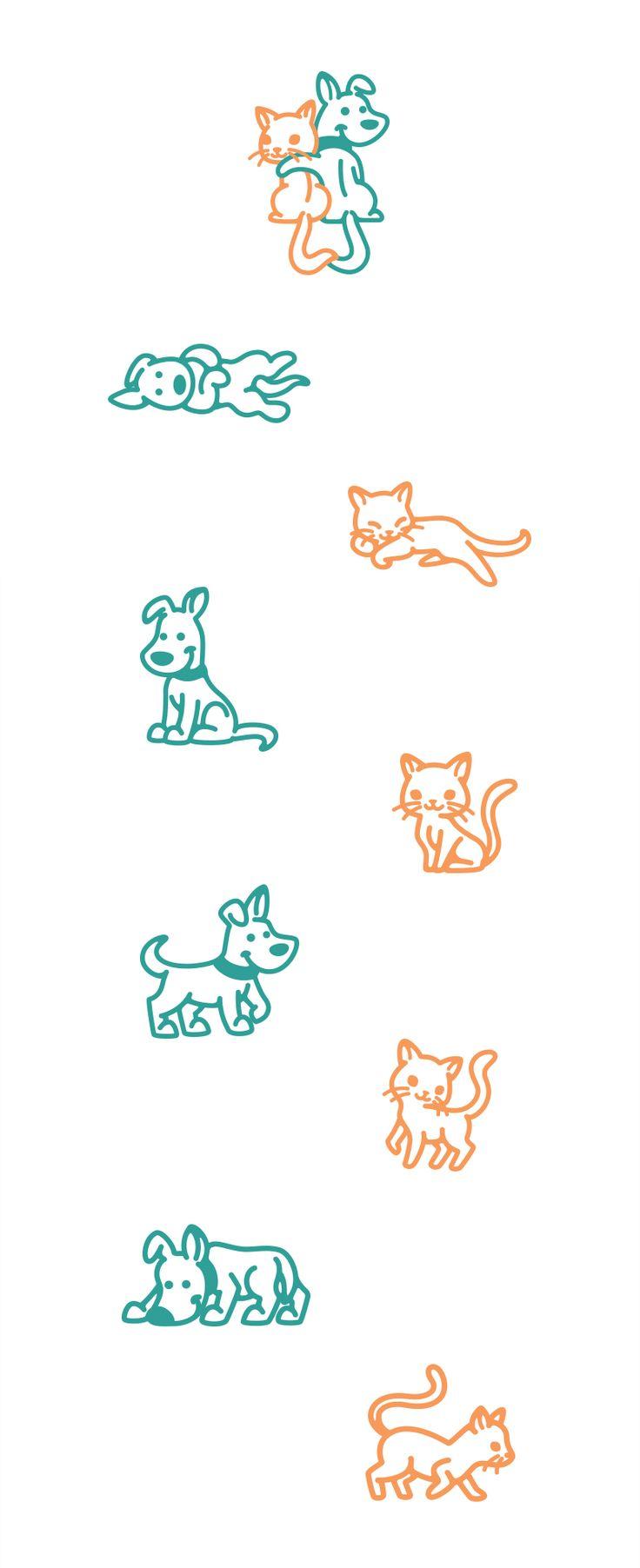 Dog&Cat #dog #cat #dogs #cats #puppy #cute #logo #illustration #icon #positions #poses #creative #vector #kreatank #designer