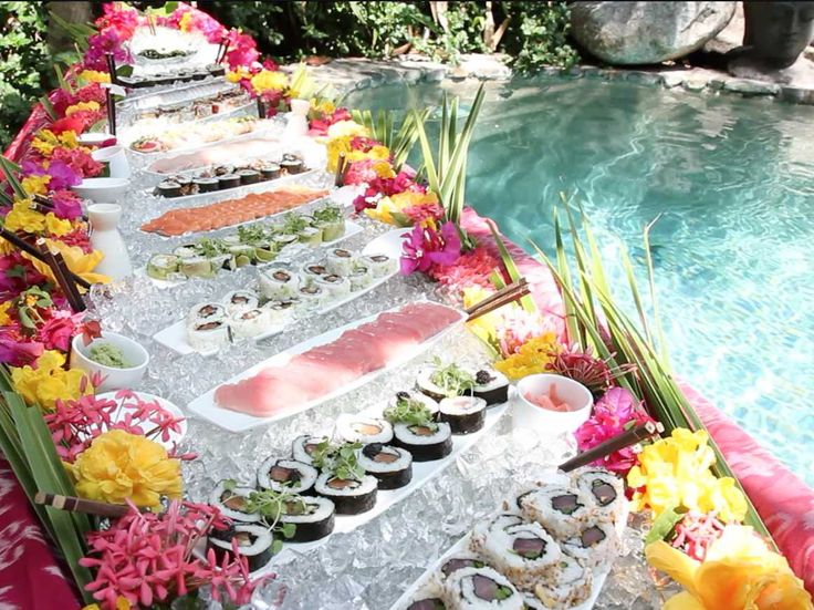 Sushi lunch is served poolside on Richard Branson's Necker Island