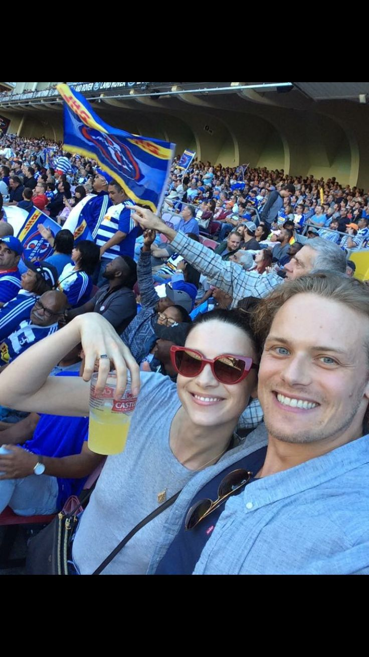 Sam & Cait at a rugby match today in Cape Town!