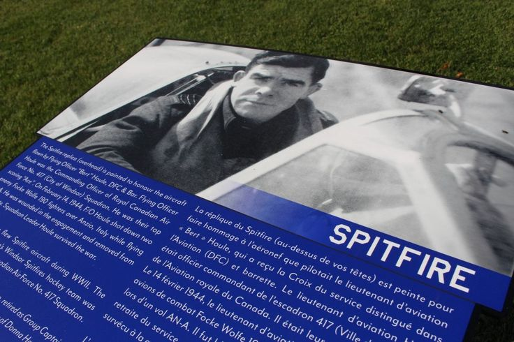 Signage of the Spitfire at the Jackson Park Spitfire and Hurricane Memorial in Windsor, seen on November 18, 2016. (Photo by Ricardo Veneza)