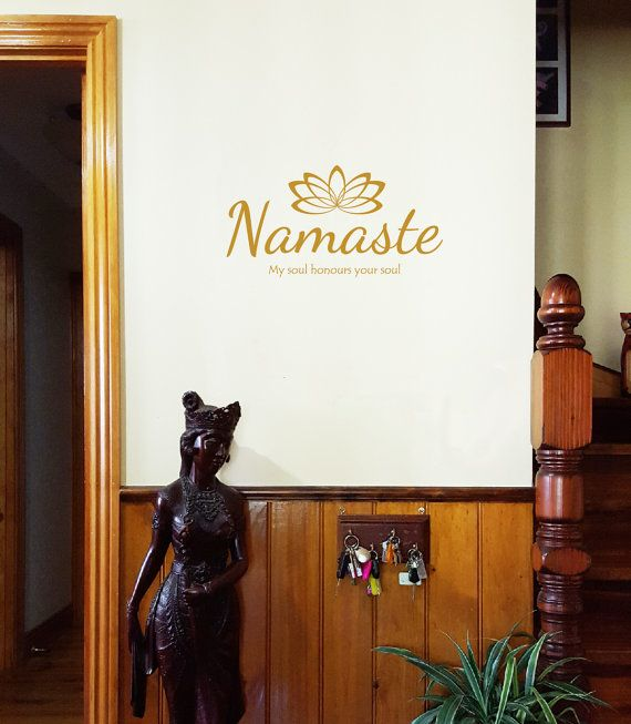 Namaste wall decal ....one for the soul ...or a great gift idea for the soul of someone you love.  Available 60cm wide (31cm high), 80cm wide
