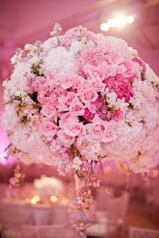 Gorgeous Pink Flowers Decor For Wedding Reception