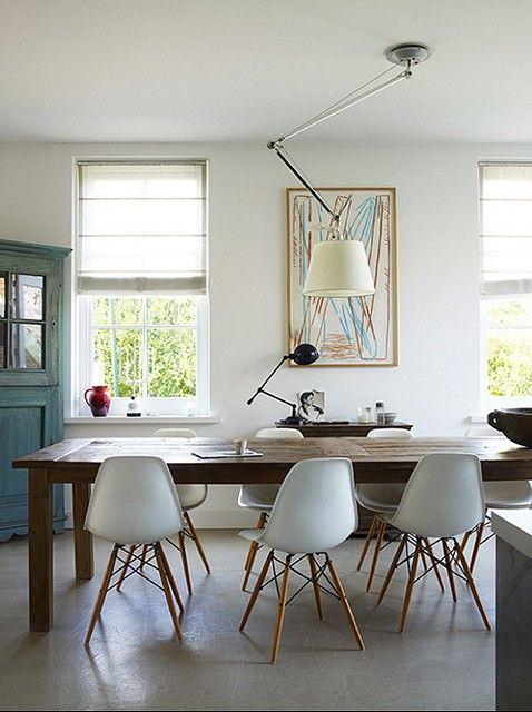 Eames chairs + farmhouse table....