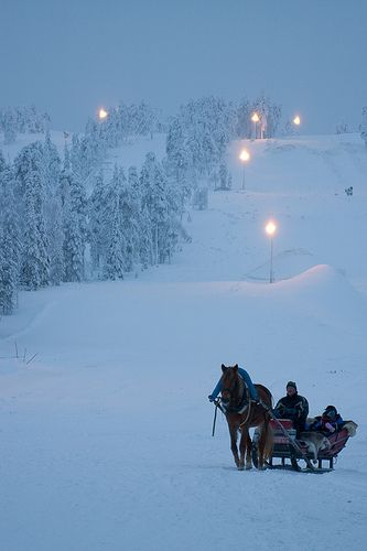 Ski slope sleigh ride.
