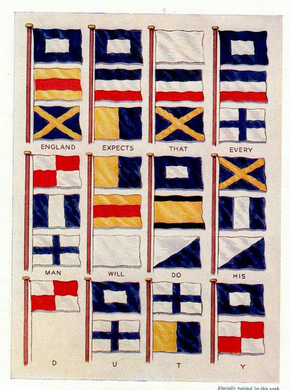 Antique print SIGNAL FLAGS Semaphore flags nautical decor