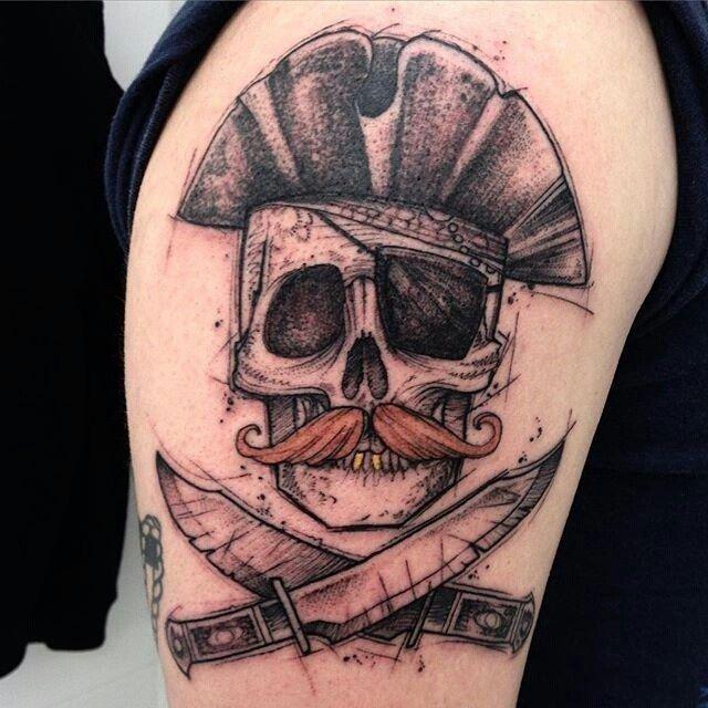 """E ai o que acharam desse pirata? Tatuagem feita por <a href=""""http://instagram.com/ricardodamaiatattoo"""">@ricardodamaiatattoo</a> =) Ricardo Da Maia Tattoo Artist - Curitiba - Brasil - estudioteix@gmail.com http://facebook.com/ricardo.damaia"""