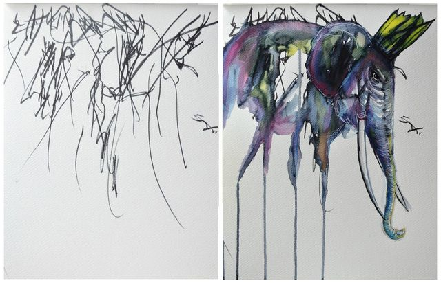 booZhee Art! This artist turns her 2 year old's doodles into gorgeous paintings. www.booZhee.com #art #artist #family #watercolor #booZhee #style #EvesImagination