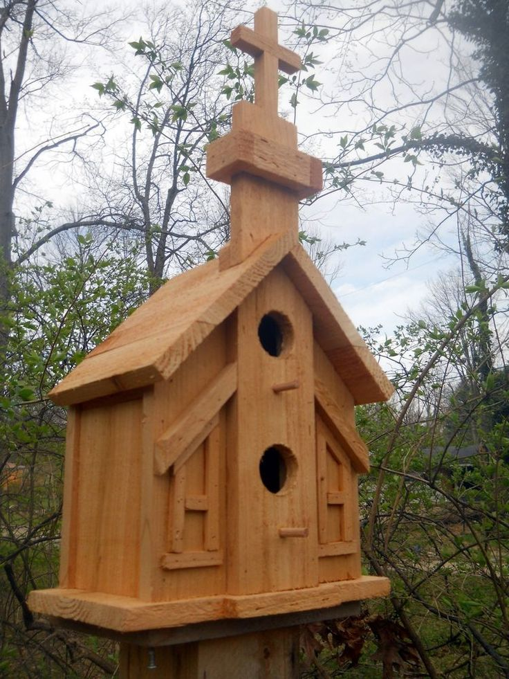 Church 2 nest bird house folk art