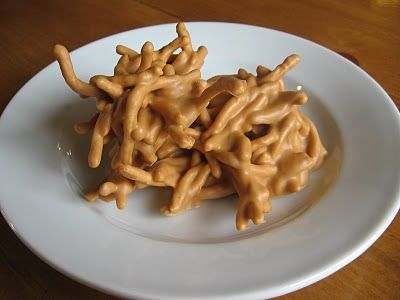 Chow Mein Haystacks - 1 cup butterscotch chips,  1/2 cup peanut butter (creamy and crunchy both work),  2 cups fried chow mein noodles. Melt chocolate and peanut butter and add chow mein noodles and gently fold into chocolate to coat them all. Drop spoonfulls on to wax paper and let them cool.