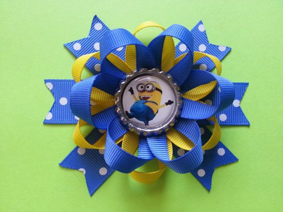 Despicable me minion hair bow available bubble by bellecaps, $4.75