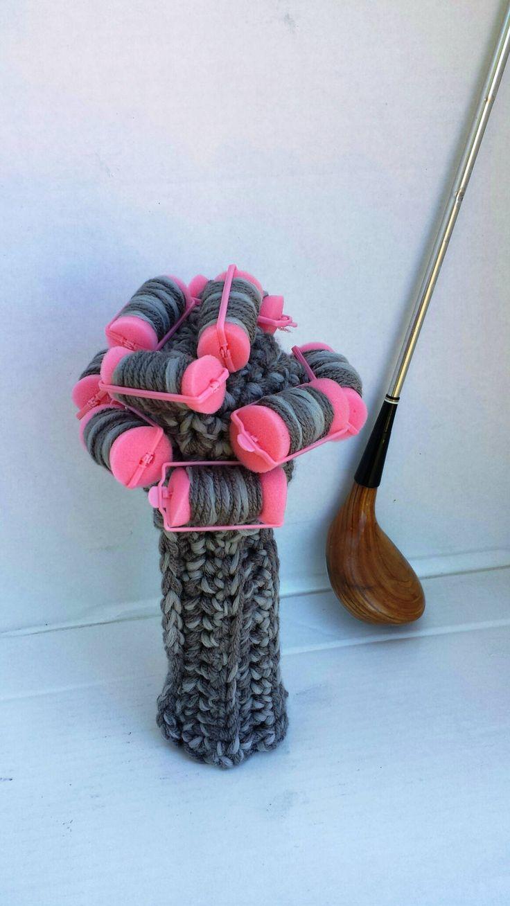 Golf Club Cover Granny, Grandma Curlers, Golf Club Covers, Crochet Golf Club Covers, Club Head Covers, Golf Head Covers,Putter Covers, by CrochetedHeadwear on Etsy