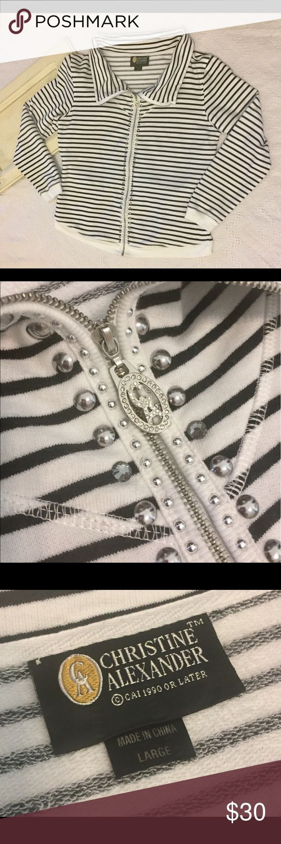 """Women's Christine Alexander B&W Striped Zip Up L Women's Christine Alexander White & Black Striped Zip Up size Large. Zipper is lined with silver studs and gray rhinestones, so pretty.  Zipper pull is a Rhinestone CA, so stunning.  Great zip up for everyday.  In gently used condition, no flaws. Please see pictures for details.  Armpit to Armpit - 22.5"""" Length - 26""""  Thank you for shopping with us, we appreciate your business.  *All items are measured laying flat, please be sure to check…"""