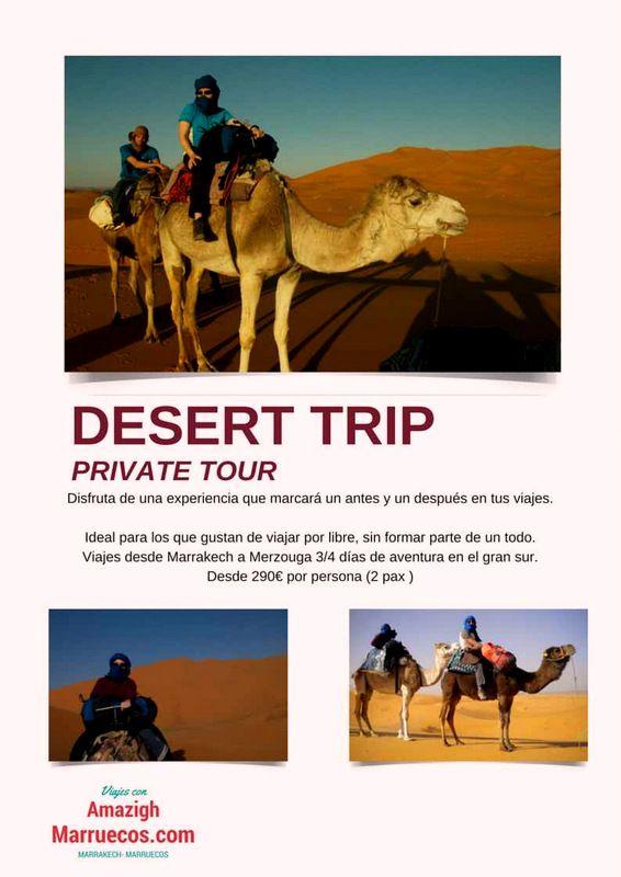 Viaje a Merzouga desde Marrakech 3 días y 2 noches Media Pensión. Vehículo privado con conductor en tu idioma, noche en Haima y paseo en dromedario.