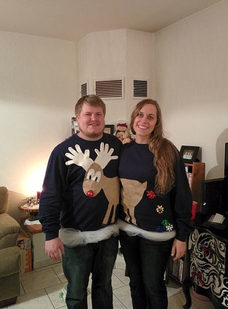 Reindeer Games: A cute reindeer couple Christmas sweater pair takes no time at all. Source: GemaRastem via Instructables