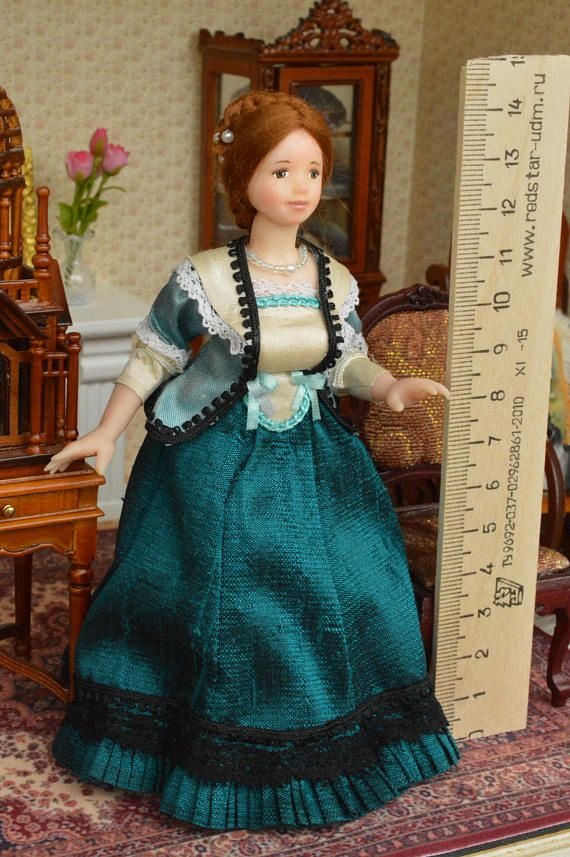 Miniature Doll Polymer Clay Woman Doll Dollhouse  Gift Lace