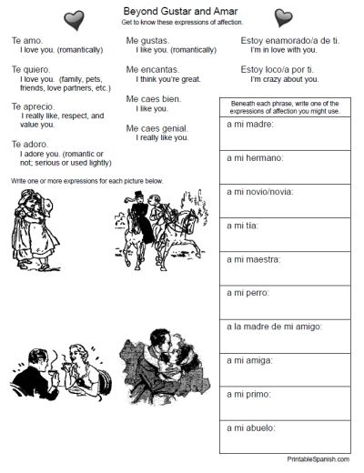 printable spanish freebie of the day beyond gustar and amar worksheet from. Black Bedroom Furniture Sets. Home Design Ideas