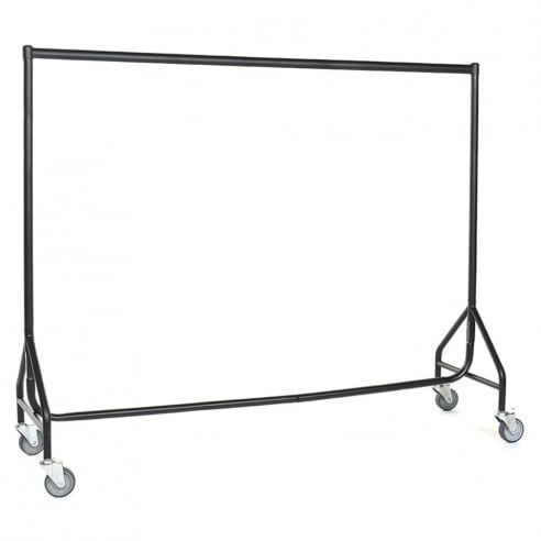 Black Reinforced Heavy-Duty Clothes Rail with Heavy Duty Wheels - 3 to 6 ft Widths